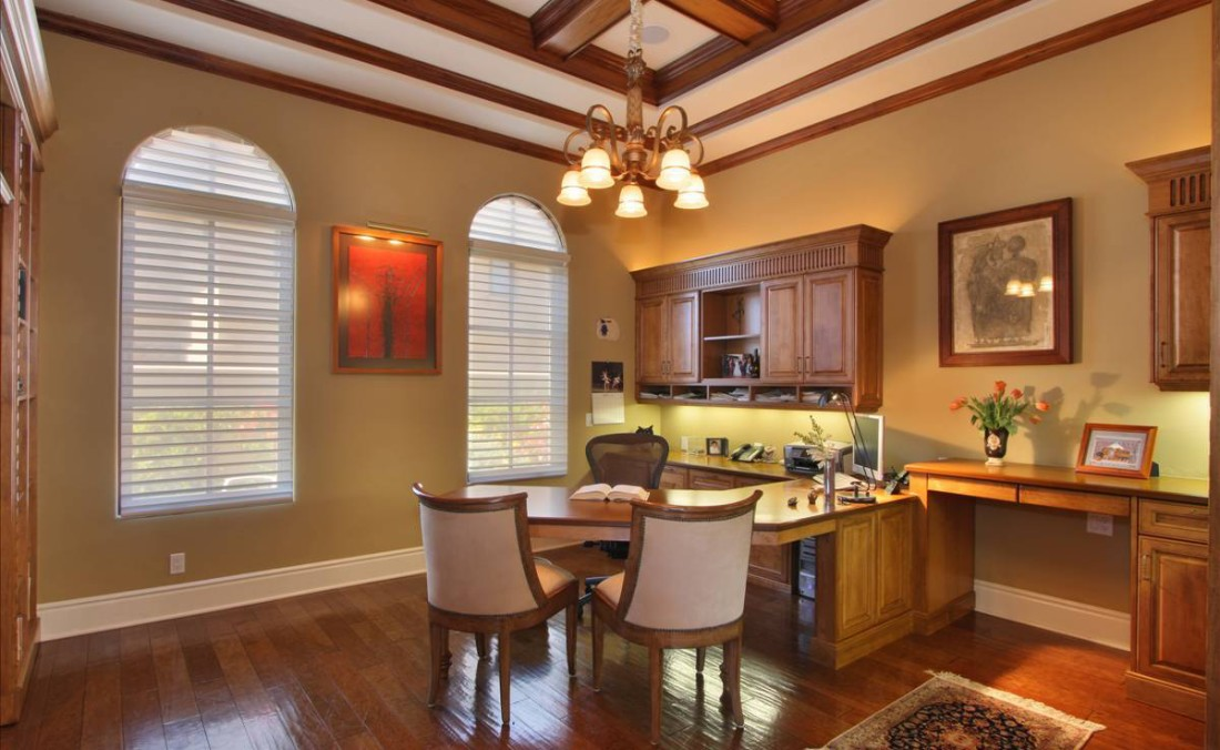 Traditional Home Office with Coffered Ceiling