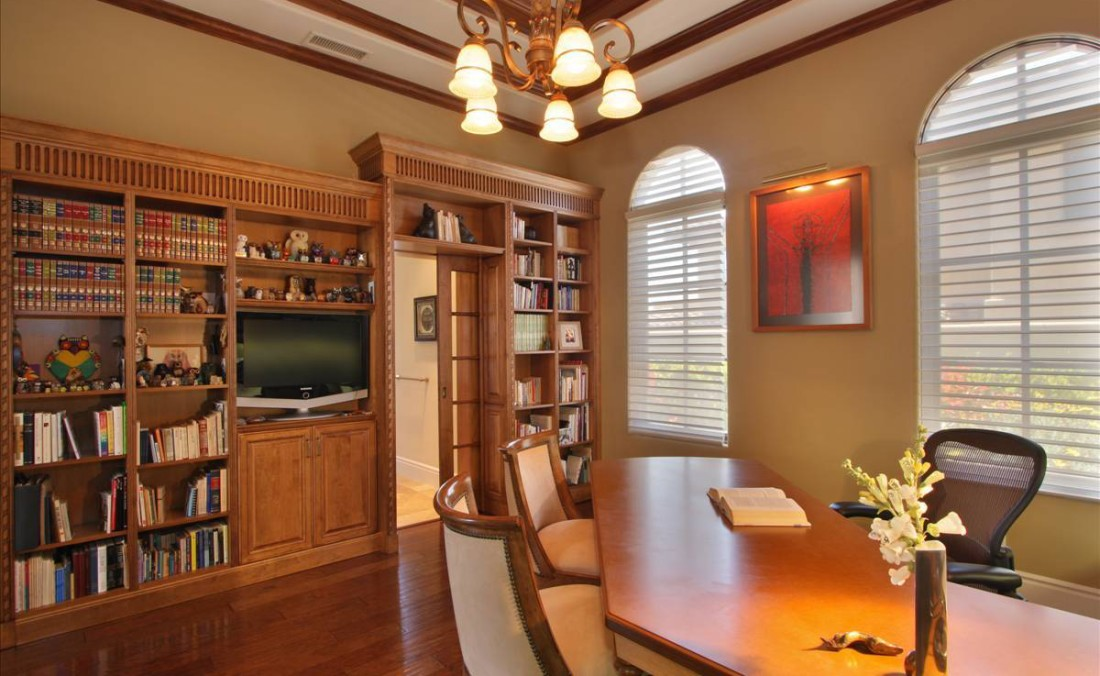 Traditional Home Office with Bookcase