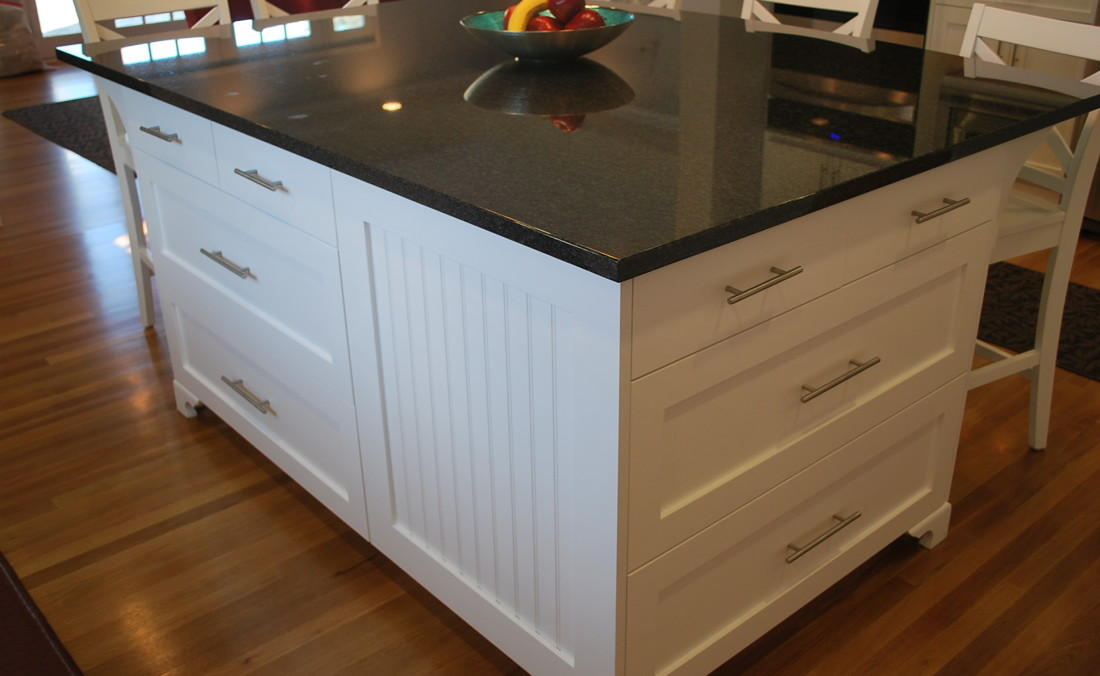 White Cottage Charm Kitchen Island with Bead Board Eau Claire