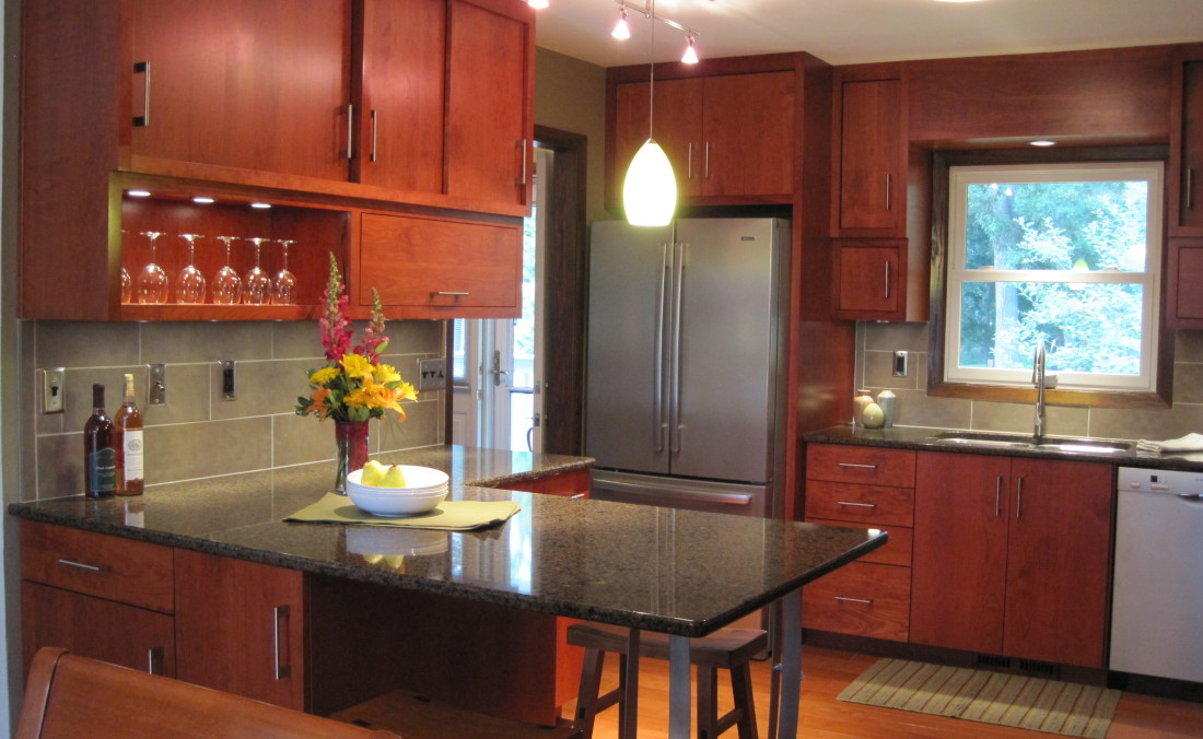 Custom Cherry Kitchen with Slider and Lift-Up Doors