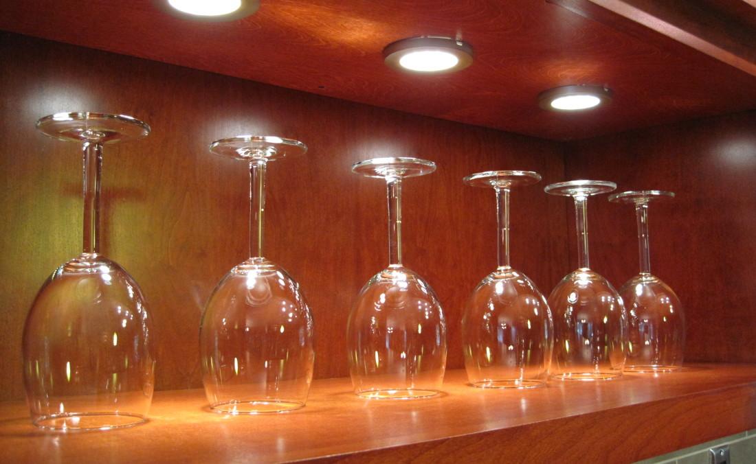 LED lights in cabinet