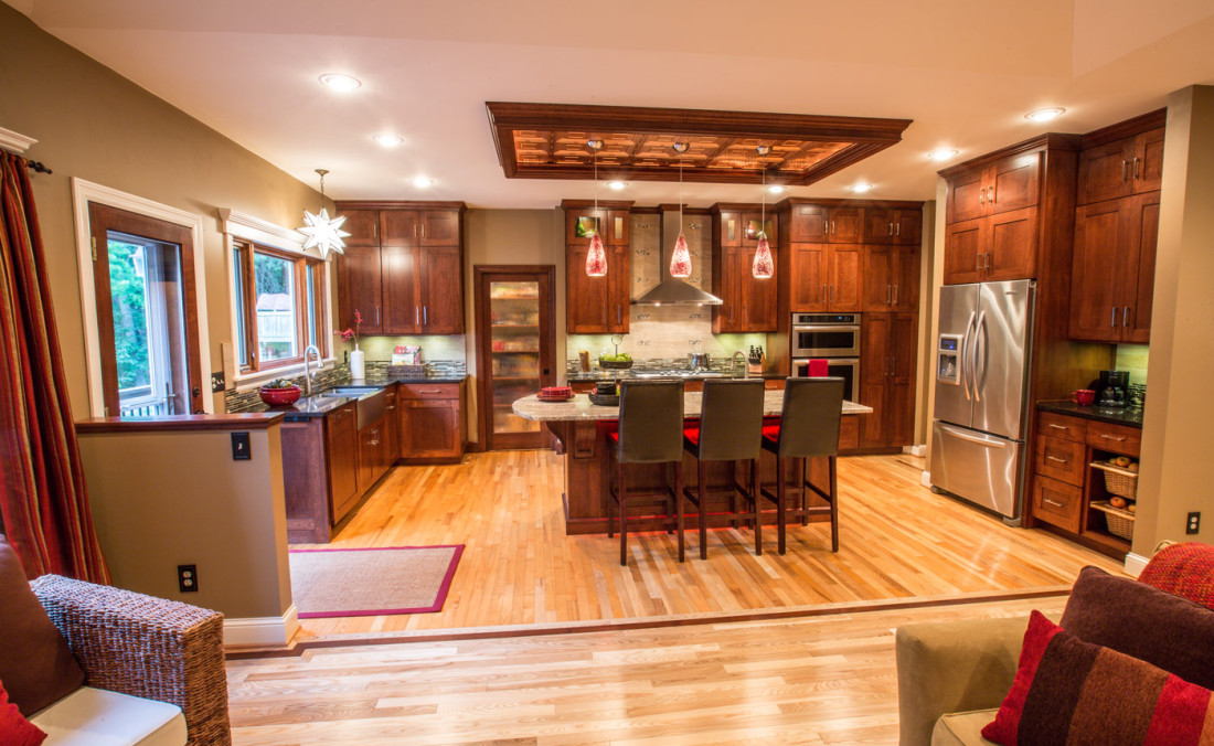 Kitchen Copper Ceiling and LED Island Lighting
