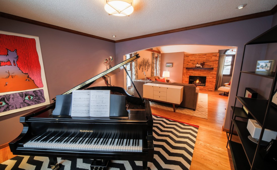 Purple Piano Room with Chevron Rug