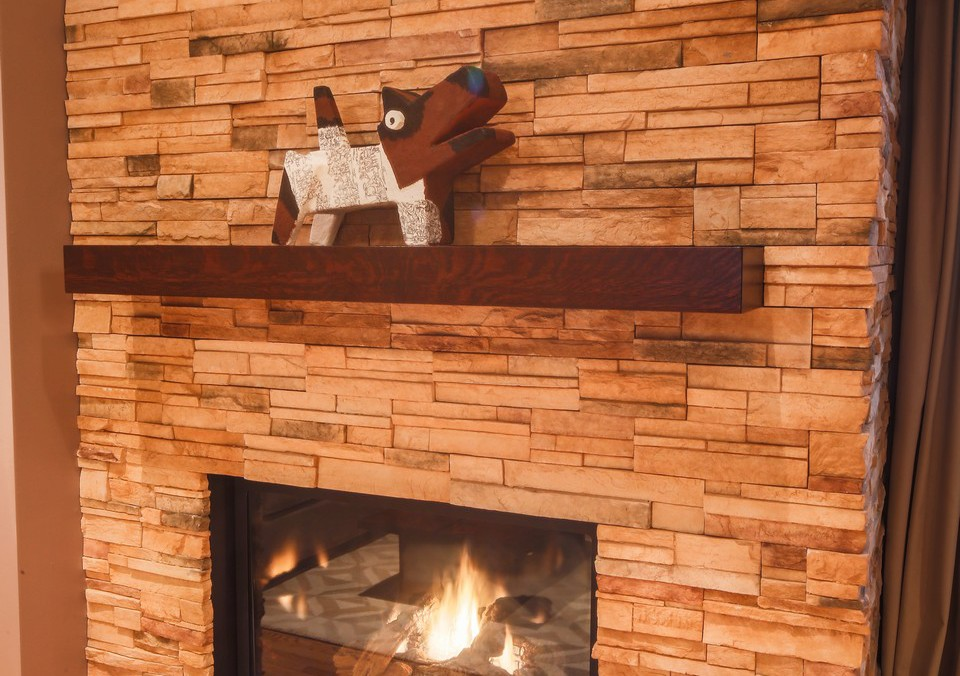 Stacked Stone Fireplace with Floating Mantle