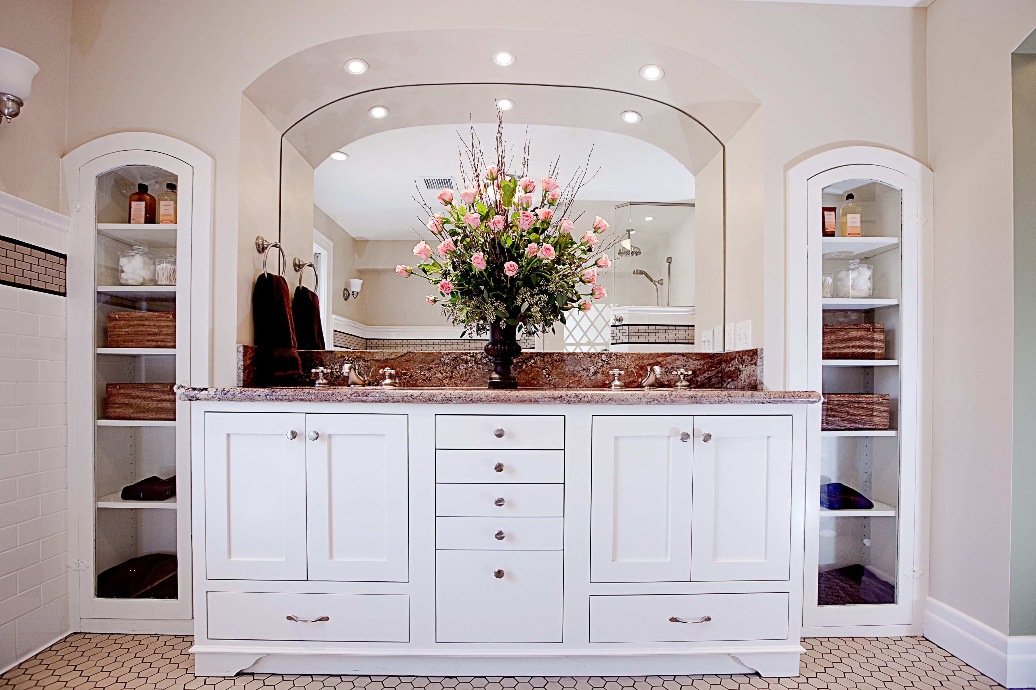 Colonial revival master bath dorig designs for Colonial style bathroom vanities
