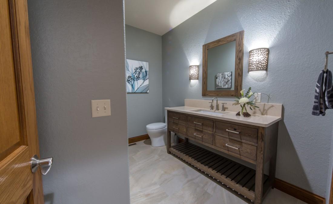 Weathered Oak Powder Bath Design